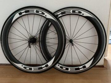 Set HED wielen 6cm carbon velghoogte 10 speed ultegra Shimano no tubes